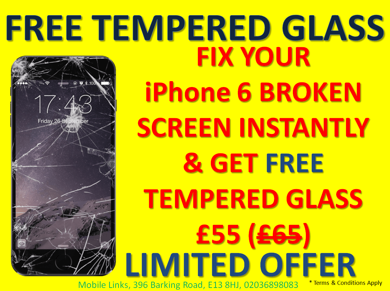 FREE Tempered Glass with iPhone 6 Screen Fix Instantly