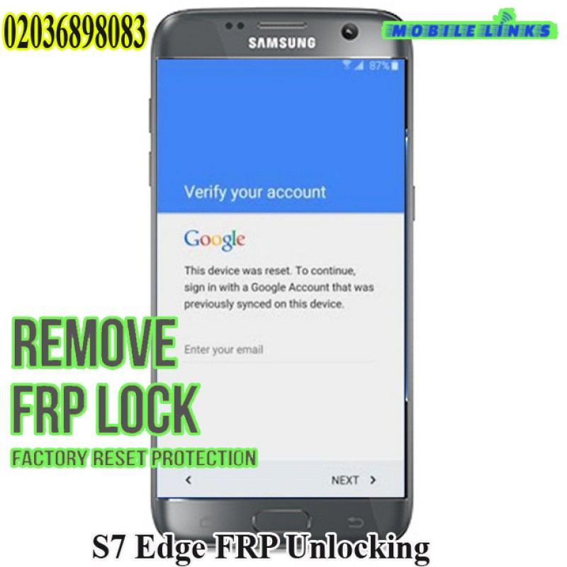 Samsung Galaxy S7 Edge FRP Unlocking Service