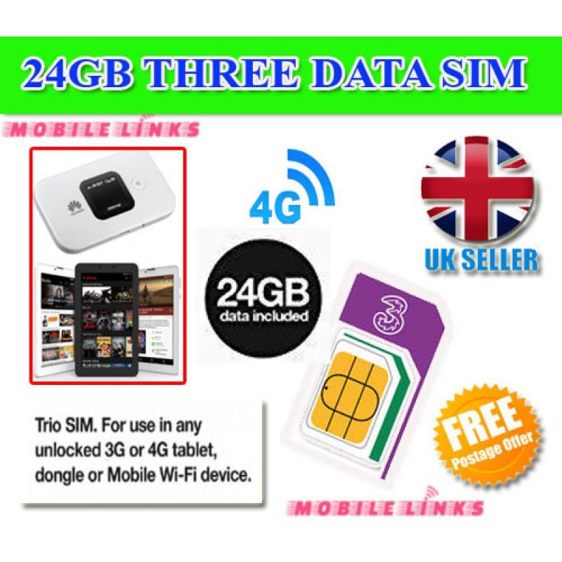 Three 3G//4G Mobile Broadband Sim Card Ready To Go With 24GB Data Trio