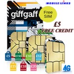 GiffGaff FREE UK 4G Trio PAYG SIM Cards with FREE £5 Credit